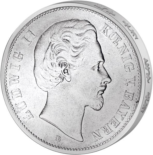 5 Mark Bayern Ludwig II. 1874-1876 D s-ss