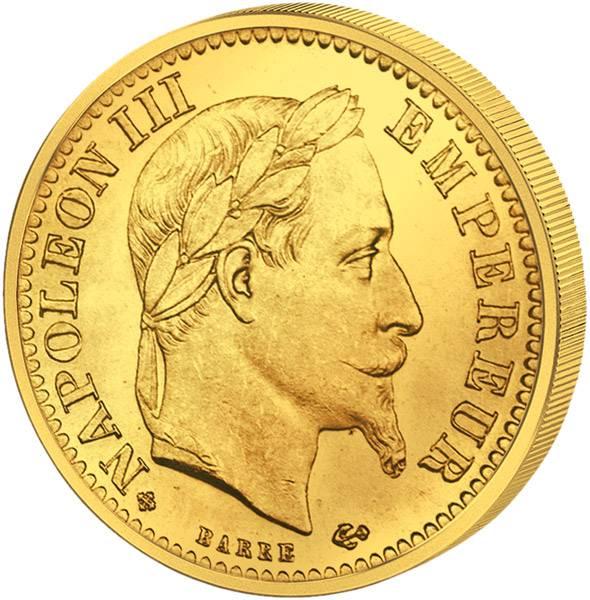 10 Francs Frankreich Napoleon III. mit Kranz 1861-1869 Sehr schön