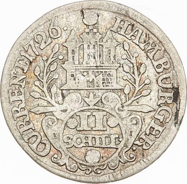 2 Schilling Freie und Hansestadt Hamburg 1725-1727