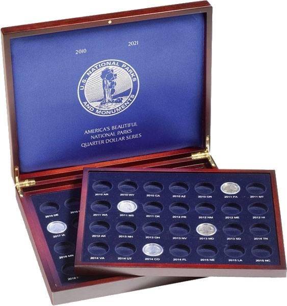 Münzkassette VOLTERRA mit 2 Tableaus für gekapselte US-Quater-Münzen