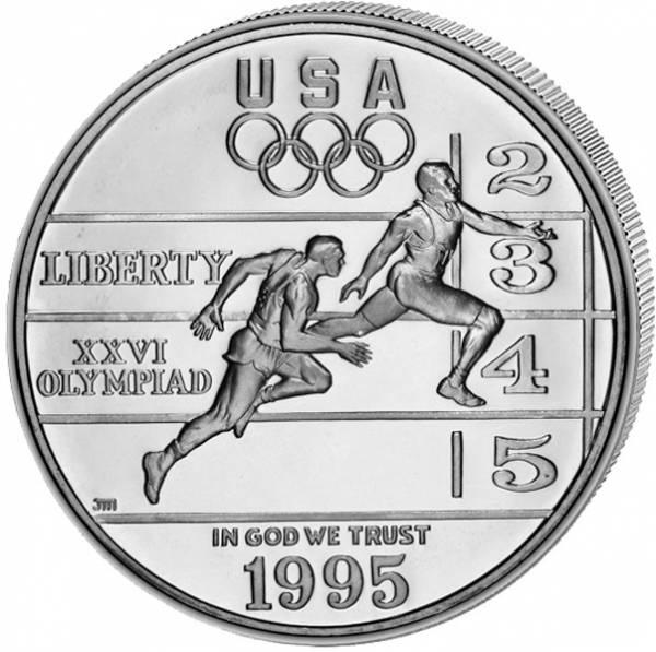 1 Dollar USA Olympiade Atlanta Leichtathletik 1995 Polierte Platte (PP)