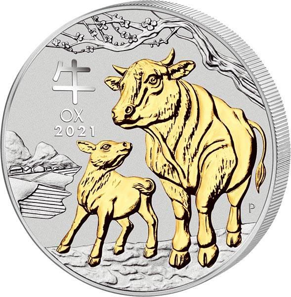 1 Unze Silber Australien Jahr des Ochsen 2021 mit Gold-Applikation