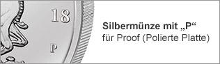 Silbermünze mit P für Proof (Polierte Platte)