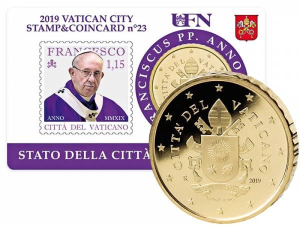 50 Cent Vatikan Stamp und Coincard Papst Franziskus 2019