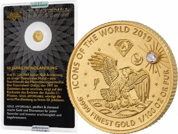10 Francs Ruanda Gold Affordable Diamond Edition Mondlandung 2019