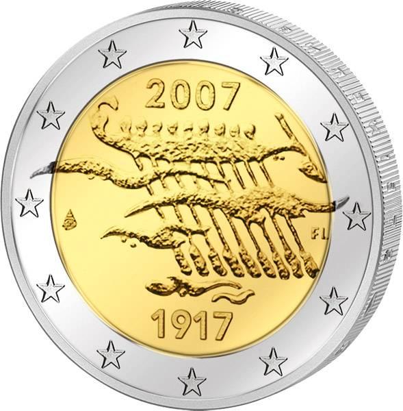 2 Euro Finnland 90 Jahre Unabhängigkeit 2007 Stempelglanz