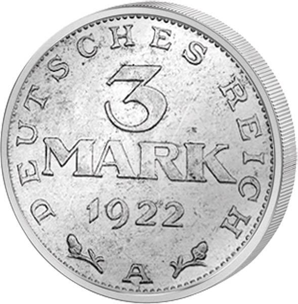 3 Mark Weimarer Republik Adler mit Inschrift 1922-1923 Vorzüglich