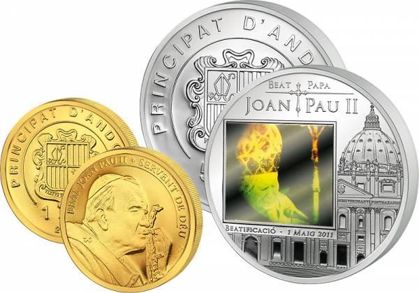 1 + 5 Dinar Andorra Seligsprechung Johannes Paul II. 2011