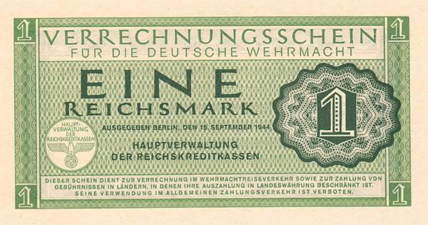 1 Reichsmark Verrechnungsschein der Wehrmacht