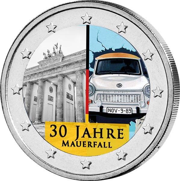 2 Euro BRD mit Farb-Applikation 30 Jahre Mauerfall 2019