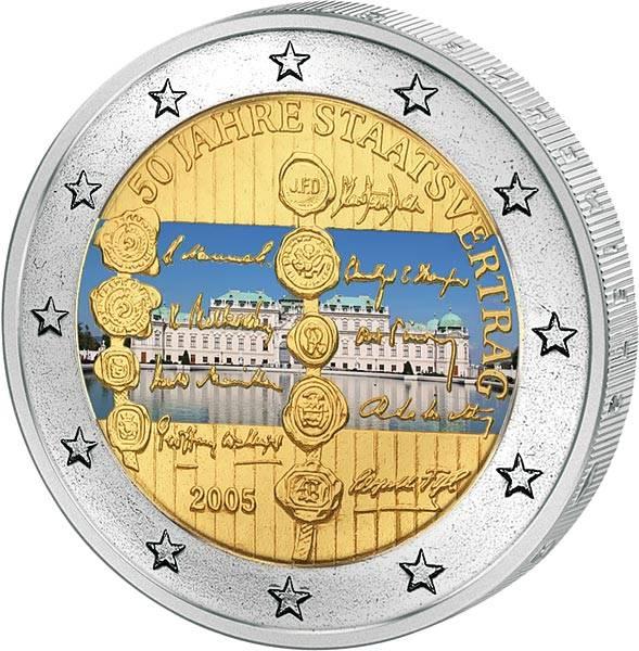 2 Euro Österreich 50 Jahre Staatsvertrag 2005 mit Farb-Applikation
