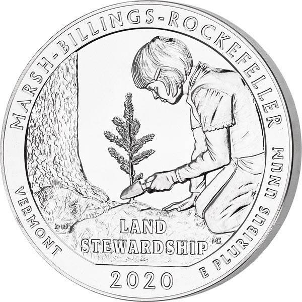 5 Unzen Silber USA Vermont Marsh-Billings-Rockefeller National Historical Park 2020