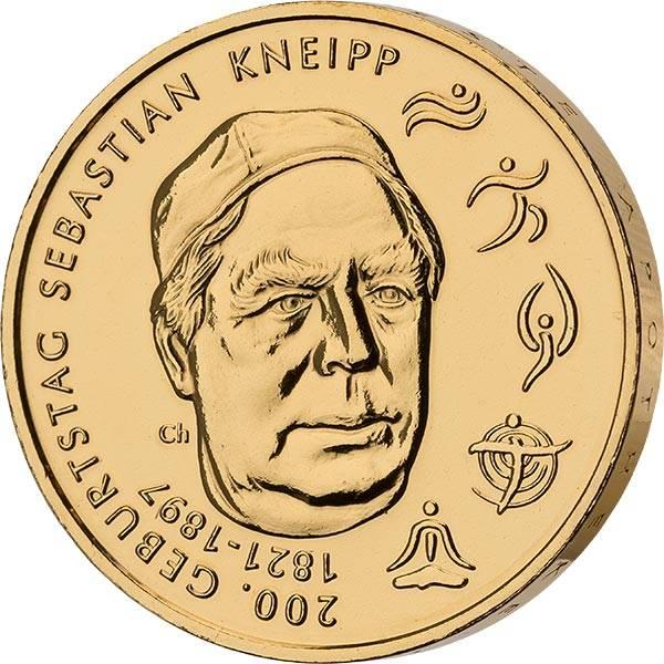 20 Euro BRD 200. Geburtstag Sebastian Kneipp 2021 vollvergoldet