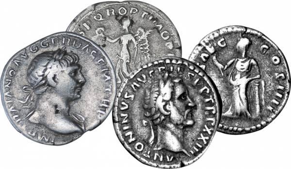 Denar  Rom Antoninus Pius und Traianus 138-161 und  98-117 n. Christus  sehr schön