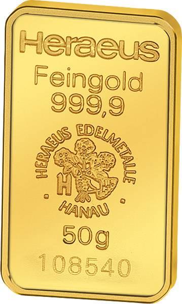 50 Gramm Heraeus Goldbarren Stempelglanz