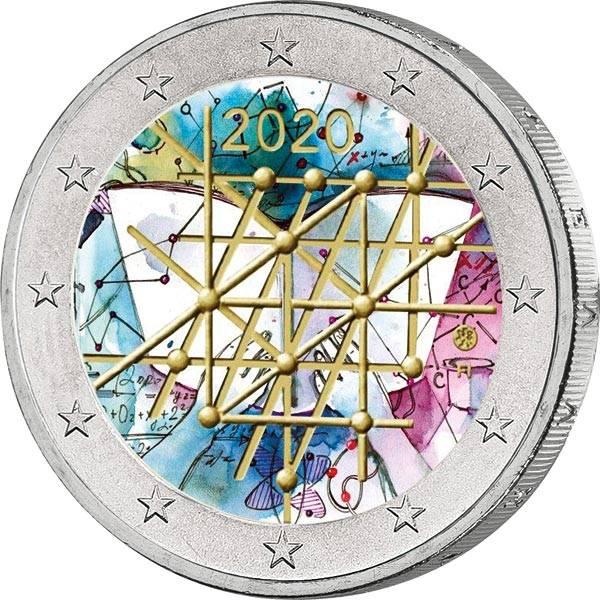 2 Euro Finnland 100. Jahre Universität von Turku 2020 mit Farb-Applikation