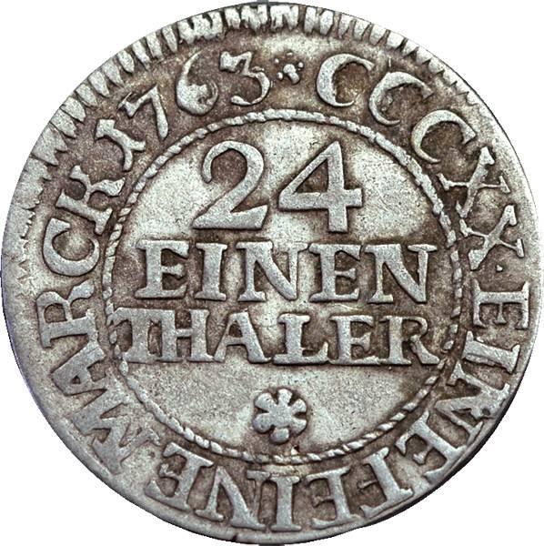 1/24 Taler Sachsen Kurfürst Friedrich August II. 1763