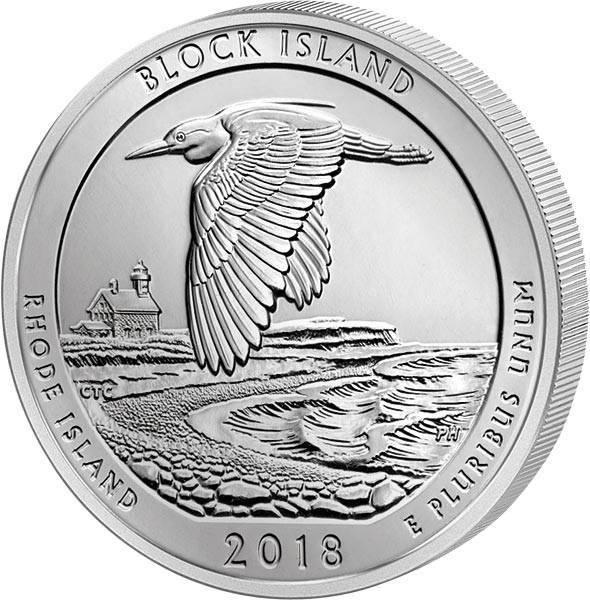 Quarter Dollar 25 Cents USA Rhode Island Block Island National Wildlife Refuge 2018