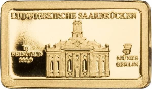 1 Gramm Goldbarren Deutsche Wahrzeichen Ludwigskirche Saarbrücken