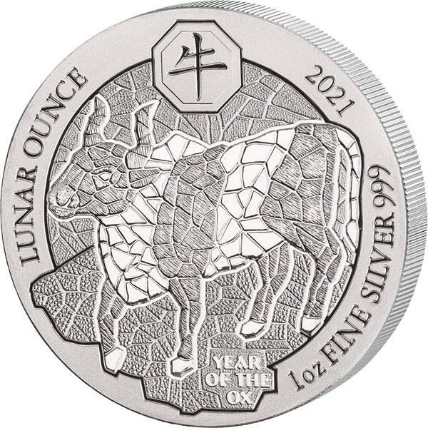 1 Unze Silber Ruanda Jahr des Ochsen 2021