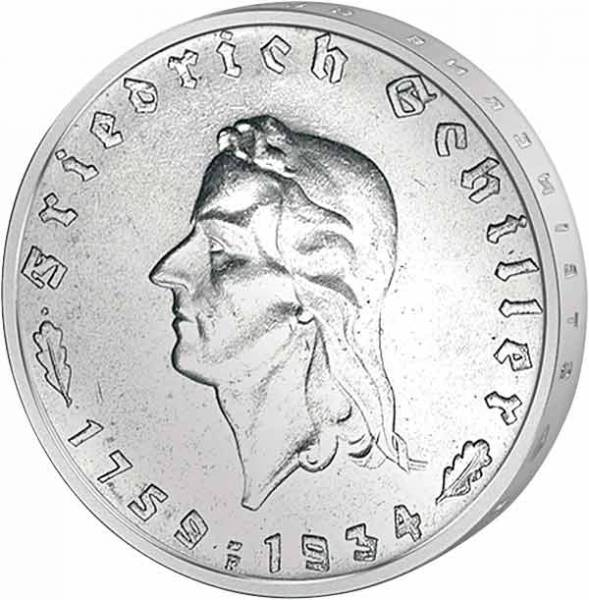 5 Reichsmark Friedrich Schiller 1934   sehr schön