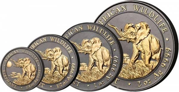 1/4 - 2 Unzen Somalia African Wildlife Elefant 2016 Golden Enigma Edition - FOTOMUSTER