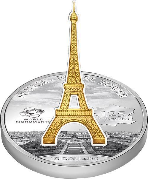 10 Dollars Cook-Inseln Frankreich 125 Jahre Eiffelturm 2014 Stempelglanz/Polierte Platte