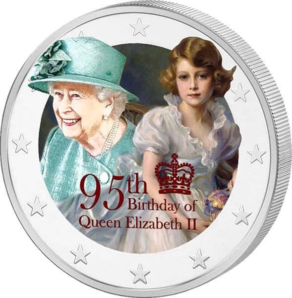 2 Euro BRD 95. Geburtstag Queen Elizabeth II. mit Farb-Applikation