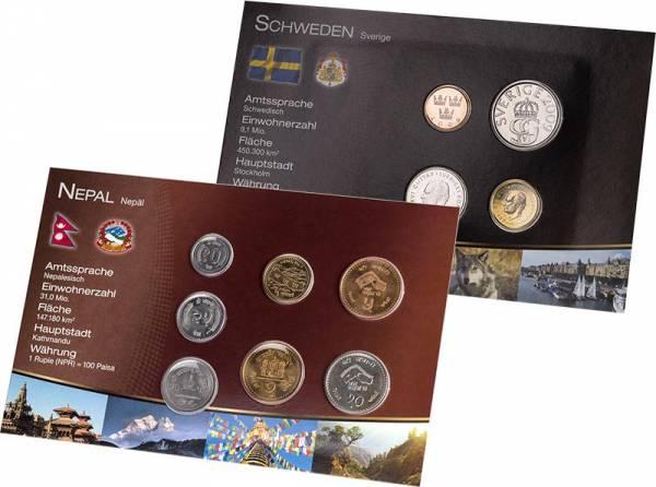 Premium-Kursmünzen-Set Nepal und Schweden