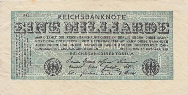 1 Milliarde Mark Reichsbanknote 1923