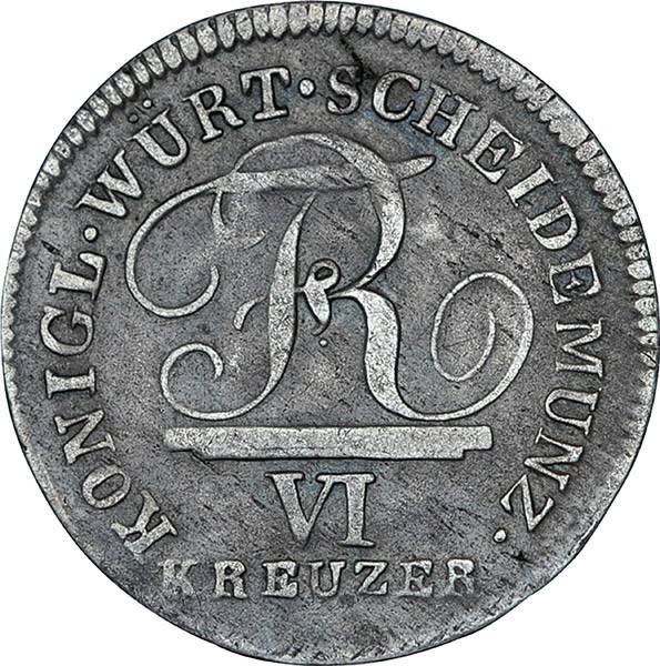 6 Kreuzer Württemberg König Friedrich I.