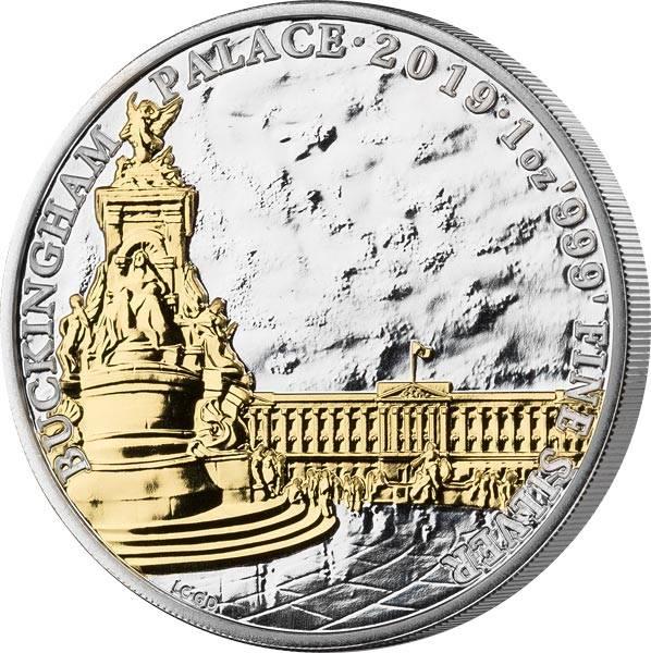 2 Pounds Großbritannien Buckingham Palast 2019 mit Gold-Applikation