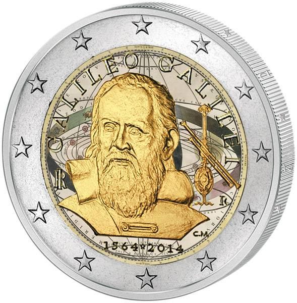 2 Euro Italien 450. Geburtstag Galileo Galilei mit Farb-Applikation 2014 prägefrisch