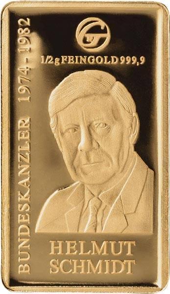 0,5 Gramm Goldbarren Helmut Schmidt