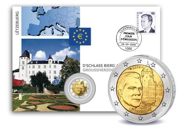 2 Euro Numisbrief Luxemburg Schloss Berg 2008 prägefrisch