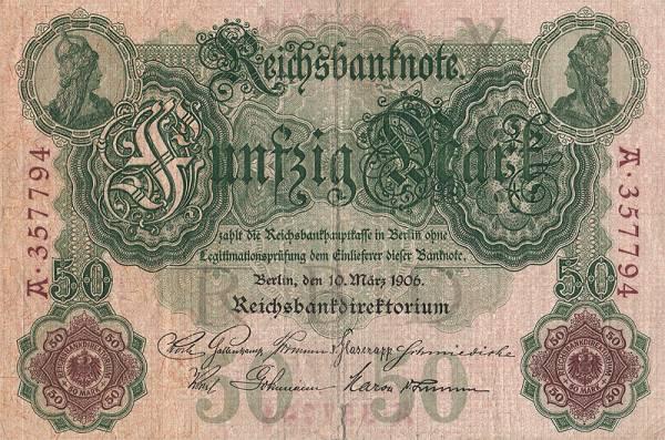 50 Mark  Banknote Symmetrie 1906  zirkuliert