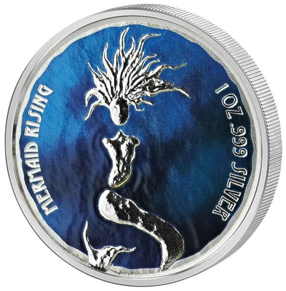1 Unze Silber Fidschi Auftauchende Meerjungfrau 2018 mit Farb-Applikation - FOTOMUSTER