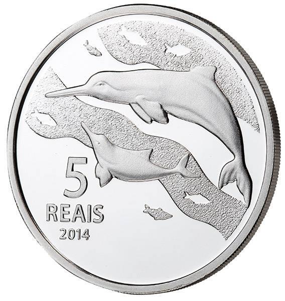 5 Reais Brasilien Olympiade in Rio Delfin 2014