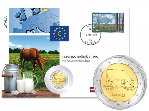 2 Euro Numisbrief Lettland Milchwirtschaft 2016