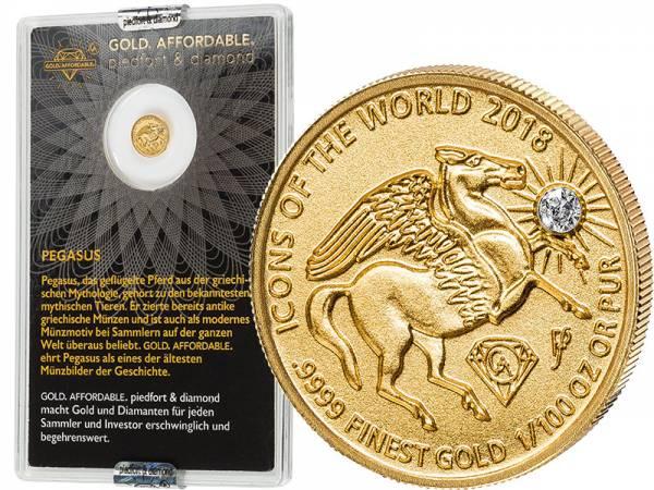 10 Francs Ruanda Gold Affordable Diamond Edition Pegasus 2018