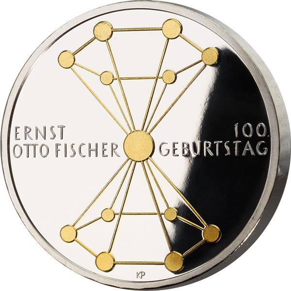 20 Euro BRD 100. Geburtstag Ernst Otto Fischer 2018 mit Goldapplikation