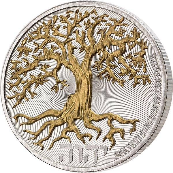 2 Dollars Niue Lebensbaum 2020 mit Gold-Applikation