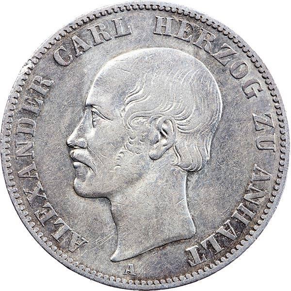 Vereinstaler Anhalt-Bernburg Herzgo Alexander Carl 1859