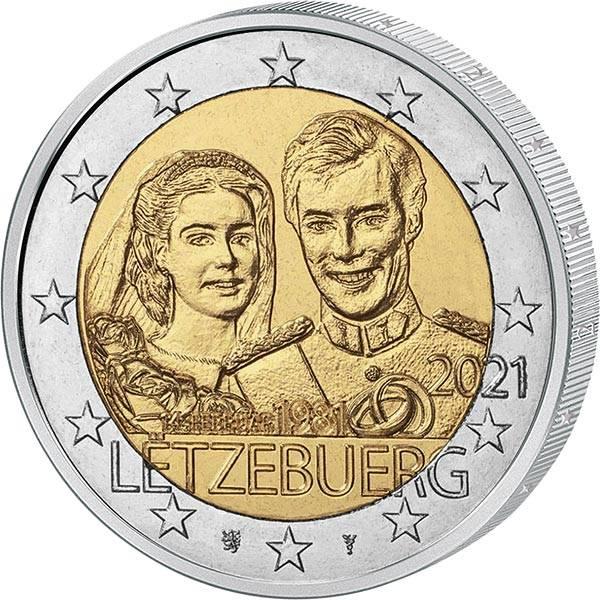 2 Euro Luxemburg 40. Hochzeitstag des großherzoglichen Paares 2021