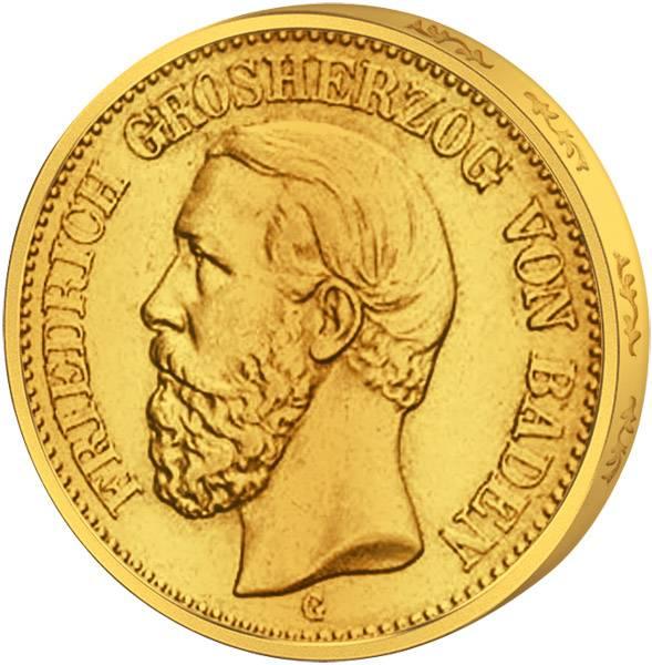 10 Mark Baden Friedrich I. Gold 1872-1873 Sehr schön