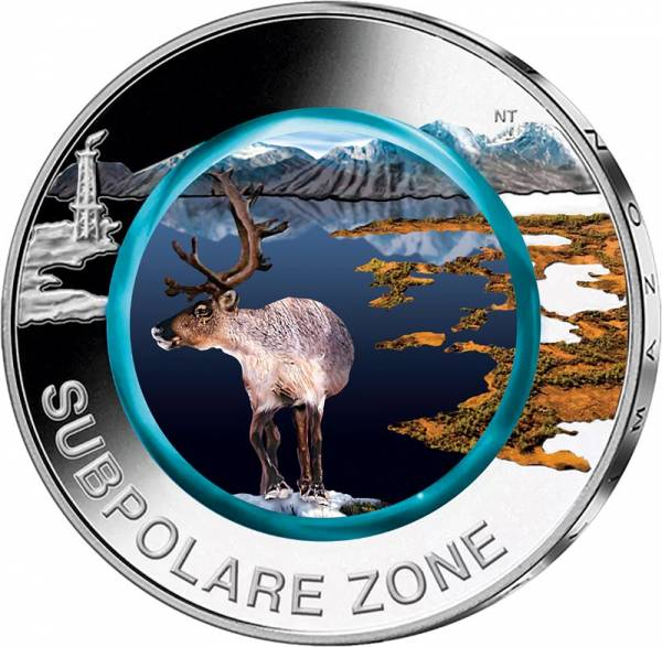 5 Euro BRD Subpolare Zone 2020 mit Farbapplikation