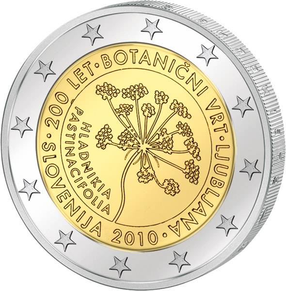 2 Euro Slowenien Botanischer Garten 2010 prägefrisch