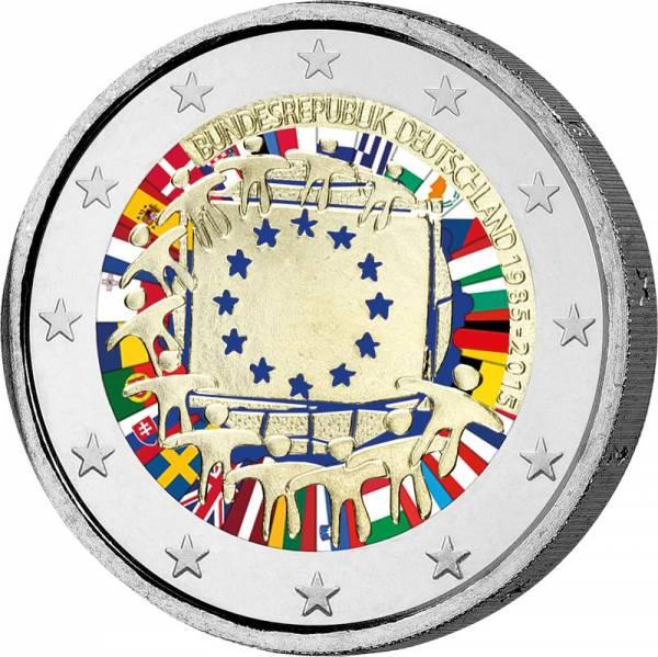 2 Euro BRD 30 Jahre EU-Flagge 2015 mit Farb-Applikation