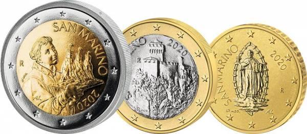 50 Cent + 1 Euro + 2 Euro San Marino Kursmünzen 2020