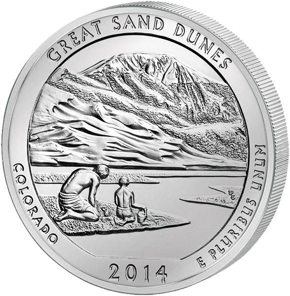 Quarter Dollar USA Colorado Great Sand Dunes National Park 2014 prägefrisch